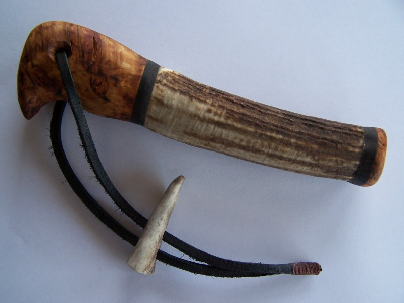 Hand grip: Eucalyptus Burl; Shaft: Fallow Deer Antler; Capping ...